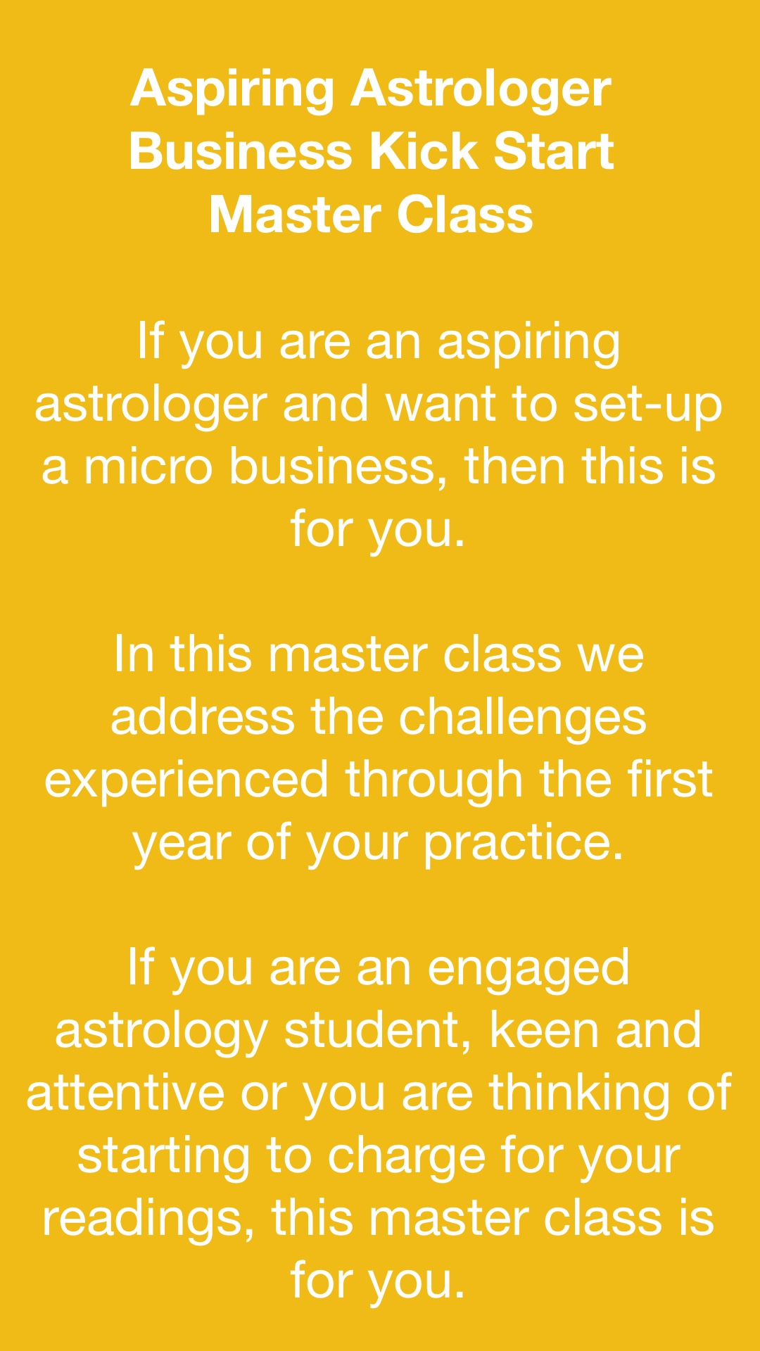 Aspiring Astrologer Business Kick Start Master Class - Vancouver